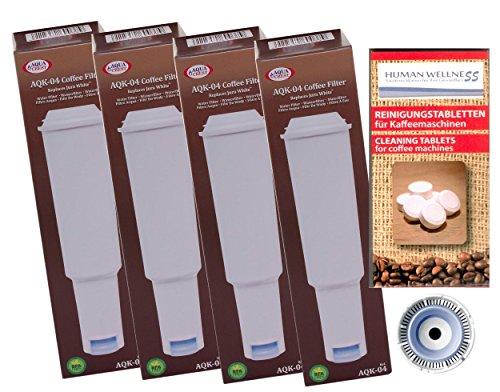 4 x Filterpatronen kompatibel mit Jura white Impressa + 10 Reinigungstabletten Tabs