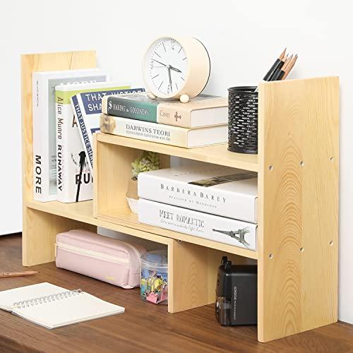 MyGift Adjustable Beige Solid Wood Desktop Storage Organizer Display Shelf Book Rack, Home Office Desk Decor Bookshelf