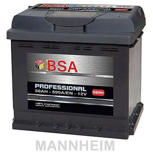 Preisvergleich Produktbild BSA Autobatterie 56Ah 12V 590A / EN ersetzt 44Ah 45Ah 52Ah 53Ah 54Ah 55Ah Extreme Startkraft