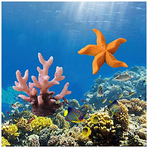 FuninCrea Adornos de Coral de Polirresina, con 2 Piezas deDecoración de Coral Artificial de Acuario, Decoraciones de Coral para Pecera, Ideal para Peceras/Acuarios