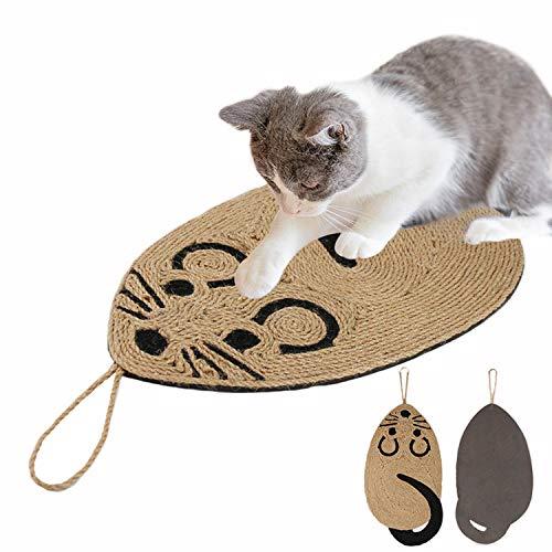 IBLUELOVER Tappetino tiragraffi per gatti in sisal, in sisal naturale, resistente da appendere a forma di topo, per gatti