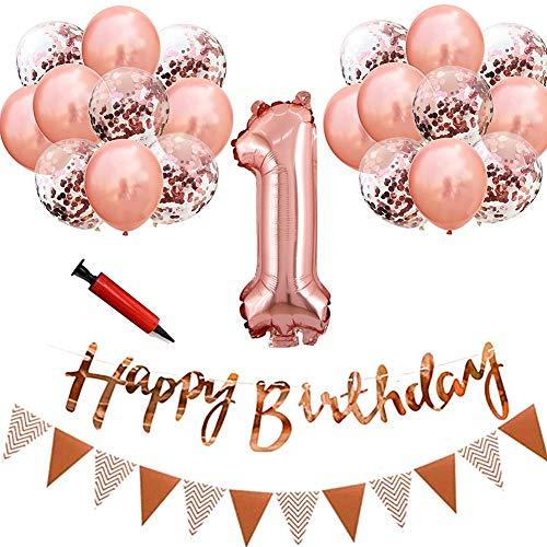 Sunshine 1歳 誕生日 飾り付け 24点セット ローズゴールド きらきら風船飾り HAPPY BIRTHDAY 装飾 華やか おしゃれ バースデー デコレーション 男の子、女の子