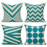 All Smiles Verde Azulado Exterior Fundas de Cojines y Almohadas Decorativas Color Turques 45 × 45 CM,4PC para Hogar...