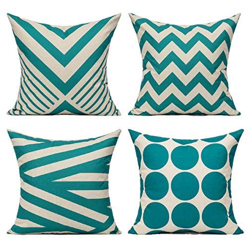 All Smiles Verde Azulado Exterior Fundas de Cojines y Almohadas Decorativas Color Turques 45 × 45 CM,4PC para Hogar Sofá Patio Decoración Moderna