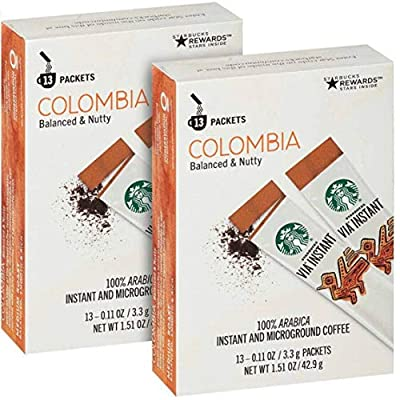 Starbucks Via Instant Medium Roast Colombia Coffee, 26 Count (Pack of 2)
