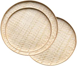 Cabilock 3PCS Food Serving Tray Round Table Storage Wicker Fruit Vegetable Bread Basket Storage Container for Outdoor Dini...