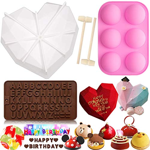 Diamond Heart Silicone Mold, Thickening 3D Large Silicone Heart Molds Semi Sphere Silicone Mold Letter Chocolate Trays with 2 Wooden Hammers for Mousse Cake Dessert Valentines Birthday DIY Baking Tool