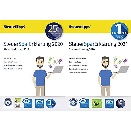 SteuerSparErklärung 2020 und 2021 im Doppelpack, 2x Schritt-für-Schritt Steuersoftware für die Steuererklärung | PC Aktivierungscode per Email