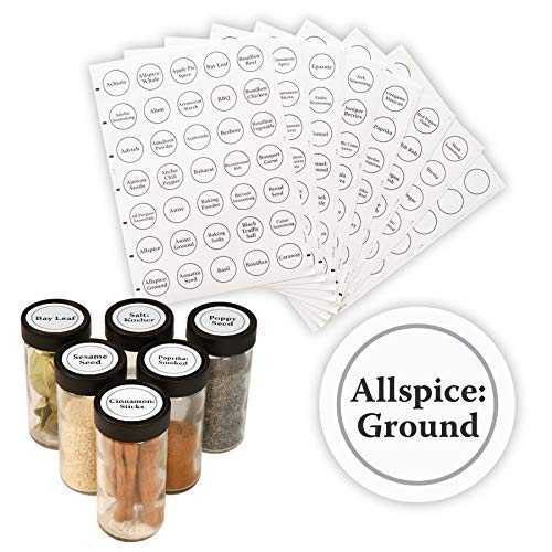 "AllSpice 315 Preprinted Water Resistant Round Spice Jar Labels Set 1.5""- Fits Penzeys and AllSpice Jars- 4 styles to choose from (Traditional White)"
