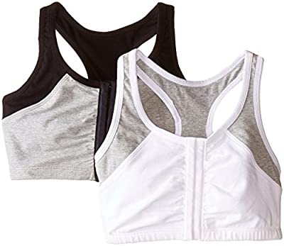 Fruit of the Loom Women's Front Close Racerback (Pack of 2), White Grey/black Grey, 36 (US Size) (US Size)