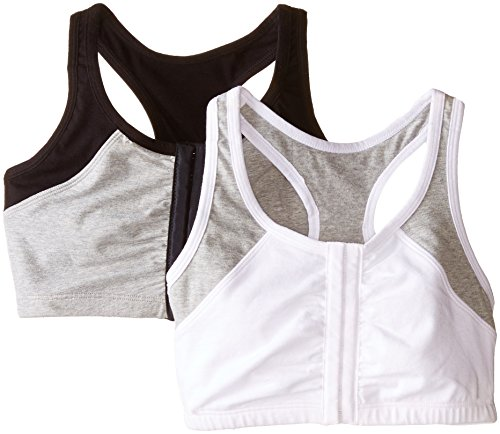 Fruit of the Loom Women's Front Close Racerback, White Grey/Black Grey, 38(Pack of 2)