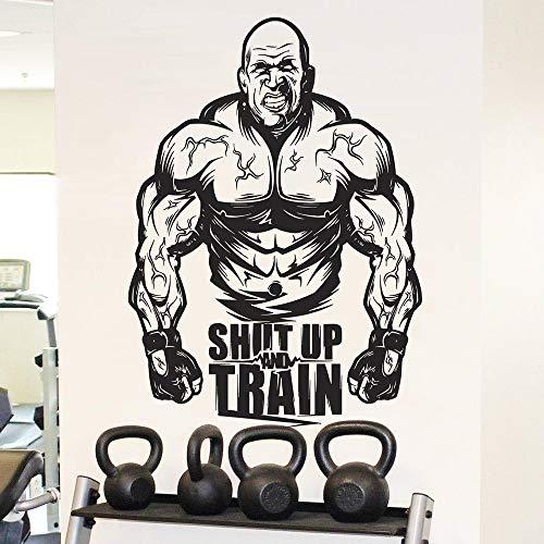 Rfokun Gym inspirierende Wandaufkleber Krafttraining Wandaufkleber Bodybuilding Wanddekoration Fitness-Übung, um Wandbild Vinyl Aufkleber Geschenke 58x42cm zu Finden