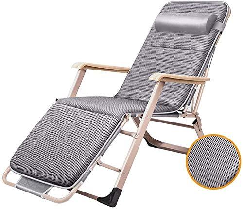 Sillas de patio para personas pesadas, para exteriores, playa, camping, portátil, plegable, con cojín, soporta 200 kg, color gris
