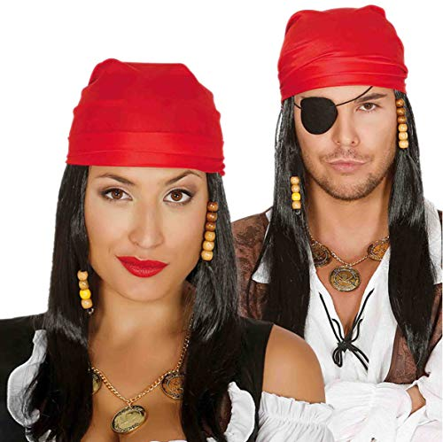 Pirat Perücke mit roten Kopftuch