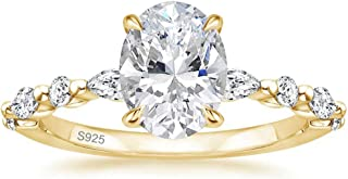 EAMTI 925 Sterling Silver Ring Oval Cut Cubic Zirconia Engagement Rings Solitaire Halo Promise Ring for Women Size 3-11