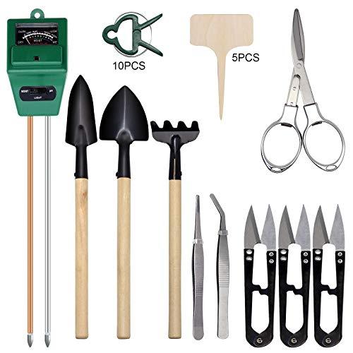 Hydrogarden Bodentest Kits mit teiligem Bonsai Werkzeug, 3 in 1 Feuchtigkeitssensor Sonnenlicht/pH-Wert, einschließlich Gartenschere, Faltschere, Mini Rechen, Knospe & Trimmer Set von