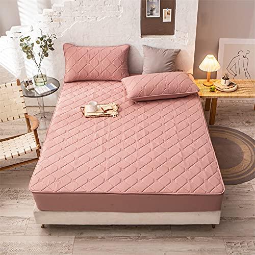 HAIBA Protector de colchón de espuma viscoelástica transpirable de microfibra, muy suave, con bolsillo profundo, adecuado para alérgicos, color rosa, 180 x 200 cm + 30 cm