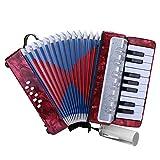 Drfeify Fisarmonica a 17 Tasti, Fisarmonica a 8 Bassi Fisarmonica a 17 Tasti per Pianoforte per Bambini Principianti(Rosso)