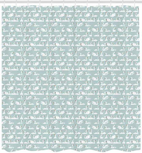 Brandless Schwäne Duschvorhang Stil Asymmetrisches Design Herde schwimmender Vögel Pastellmuster Stoff Stoff Badezimmer Dekor-180 cm x 220 cm