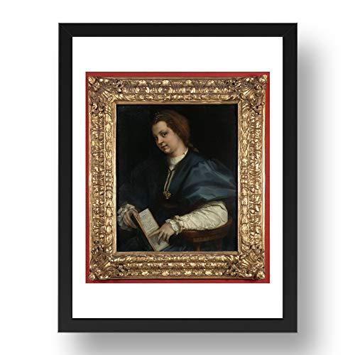 Period Prints Señora con un libro de petrarcas rima de A. del Sarto, arte vintage, reproducción A3 en 17x13 (A3) Marco negro