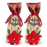 DOITOOL 2 piezas de botellas de vino de Navidad con cordón de arpillera bolsas de regalo de vino con flor de Poinsettia de Navidad para decoración de botellas de vino de Navidad