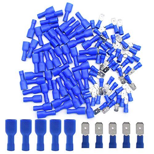 Yosawo 100 Stücke Kabelschuhe Isolierte Flachstecker/Flachsteckhülsen Quetschverbinder Für Kfz, Elektronik und Hobby(PGML)