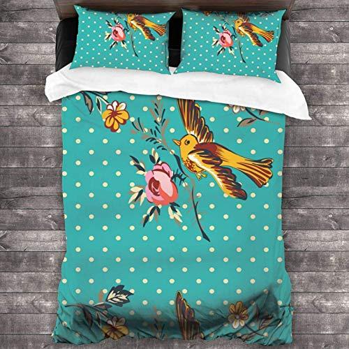 AEMAPE 86'x70' Juego de Cama Microfibra 100% Suave Pájaro Dibujado Mano Volando Flor Rosas Tropical Bedding Sábanas Pareja DE Almohadas