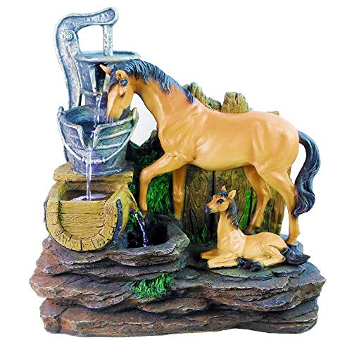 Baby and Mom Horses Water Fountain, with 3X LED Lights, by COWBOYOK