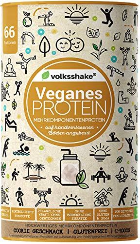 VEGANES PROTEIN Cookies - Volksshake - 1kg mit 12 veganen Proteinen | Mandel-, Hanf-, Chia-, Quinoaprotein - mit natürlicher Enzymkraft