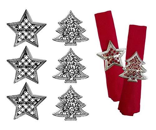 YöL Set of 6 Napkin Rings Christmas Tree Star Xmas Silver Metal Elegant Table Set