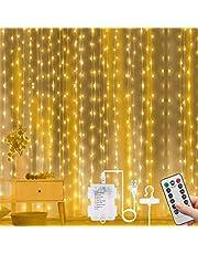 Vicloon Gordijn Fairy Lights, 300 LED Warm Wit Gordijnlampen, 3 m 8 Modus Waterdichte Raamlichten, USB & Batterij Aangedreven met Afstandsbediening Timer voor Outdoor Indoor Party Slaapkamer Decoratie
