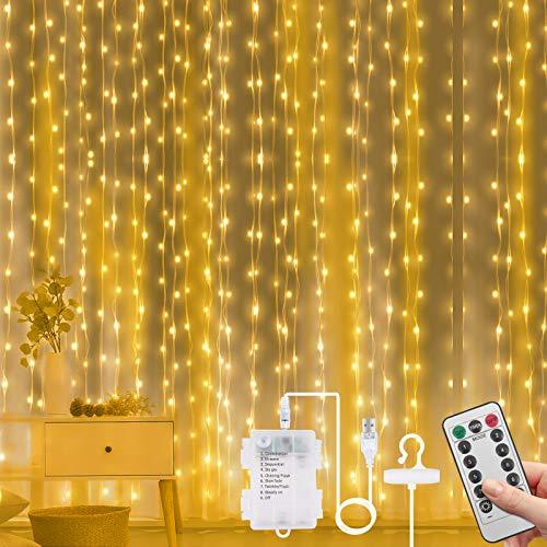 Vicloon Luz Cadena Luz de Cortina USB, 3m*3m 300 LED Cortina de Luces Navidad, 8 Modos de Luz con Control Remoto, Impermeable Cadena de Luces para Decoración Ventana, Interiores, Navidad, Fiestas
