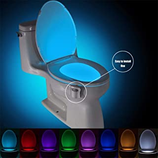 YIHGJJYP Smart PIR Motion Sensor Toilet Seat Night Light 8 Colors Waterproof Backlight for Toilet Bowl LED Luminaria Lamp WC Toilet Light