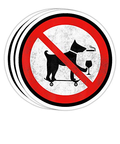Aqua Snail No Smoking Drinking Skateboarding Dog Sign Funny Gift Decorations - 4x3 Vinyl Stickers, Laptop Decal, Water Bottle Sticker (Set of 3)