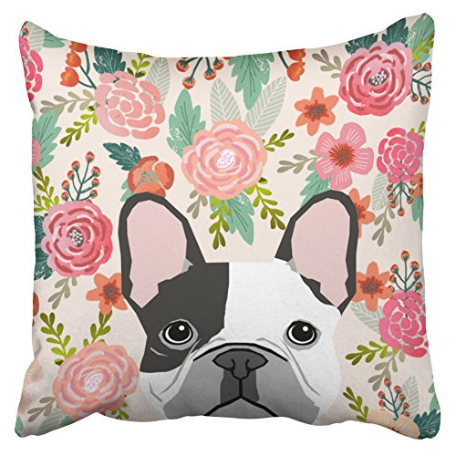 Emvency Decorative Pillowcases French Bulldog Cute Floral Pet Portrait Throw Pillow Covers Cases Cushion Sofa 18x18 Inches(45x45cm) One Side