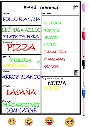 Pizarra Magnetica para Nevera,Planificador de Menu,Dieta, Recordatorio, Lista de la Compra Calendario Magnetico Incluye 4 Rotuladores de Color+4 Emoyi,Semanal en Español
