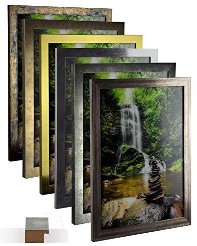 myposterframe Bilderrahmen Vintage Juno 60 x 90 cm Holz MDF Größenwahl 90 x 60 cm Farbwahl Hier: Vintage Metall mit Kunstglas klar 1 mm