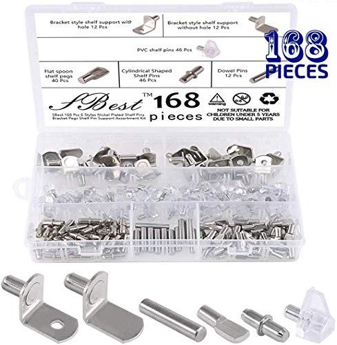 SBest - Juego de 168 piezas de 6 estilos para estantes, clavijas chapadas en níquel de alta calidad, soportes para estantes de...