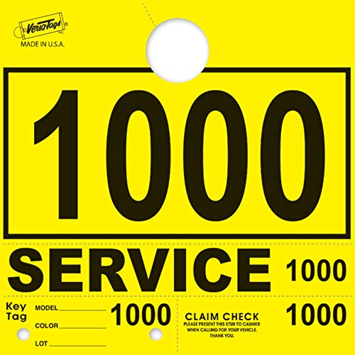 Service Dispatch Numbers RL78 Style Mirror Hang Tags Numbered (Yellow, 1000-1999)
