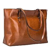S-ZONE Women Vintage Genuine Leather Tote Shoulder Bag Handbag Upgraded Version Medium