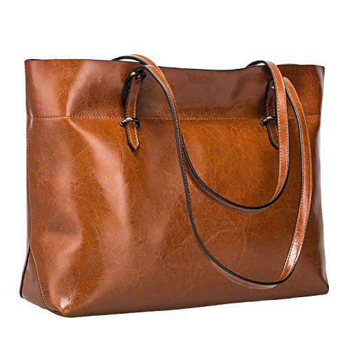 S-ZONE Women Vintage Genuine Leather Tote Shoulder Bag Handbag Upgraded Version