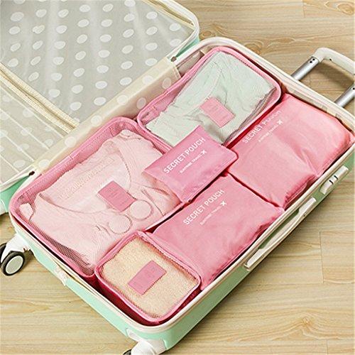 display08 Lot de 6 sacs de rangement de voyage grande capacité pour valises – Rose