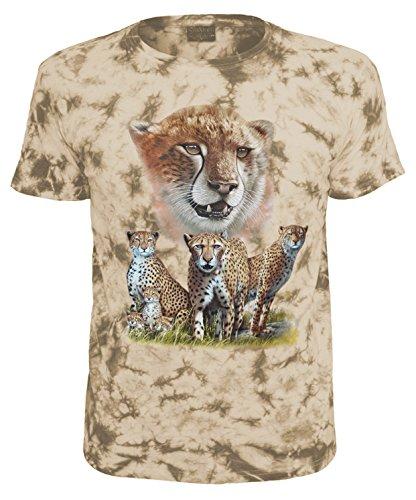 Kinder T-Shirt Tiermotiv Geparden Sand Batik Größe 152