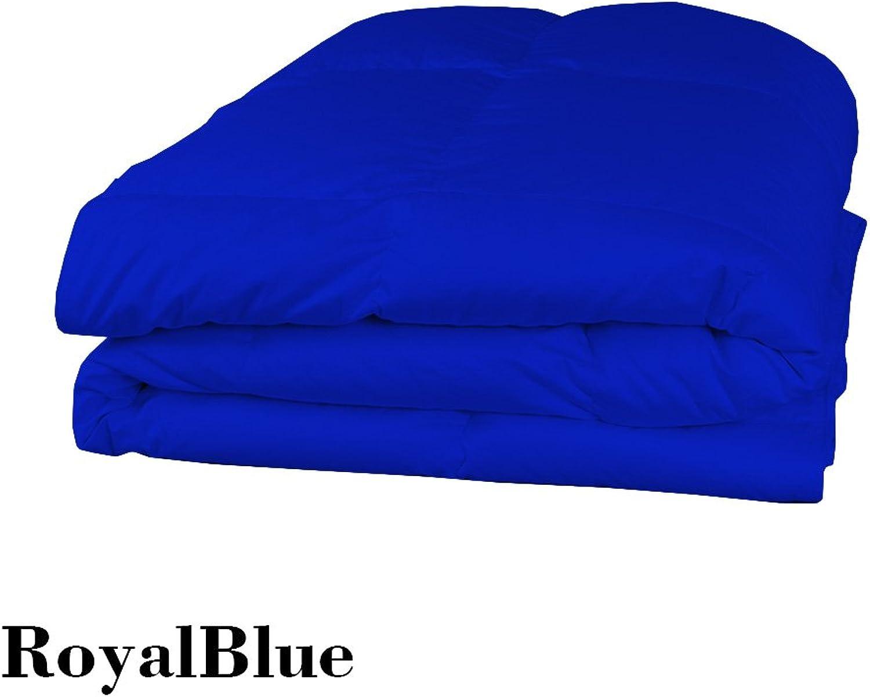 Dreamz Parure de lit Super Doux 500Fils 100% Coton 1Housse de Couette (100g m2 Fibre Fill) Euro Super King Taille, Bleu Roi Bleu égypcravaten Solide Coton égypcravaten Scala Doudou