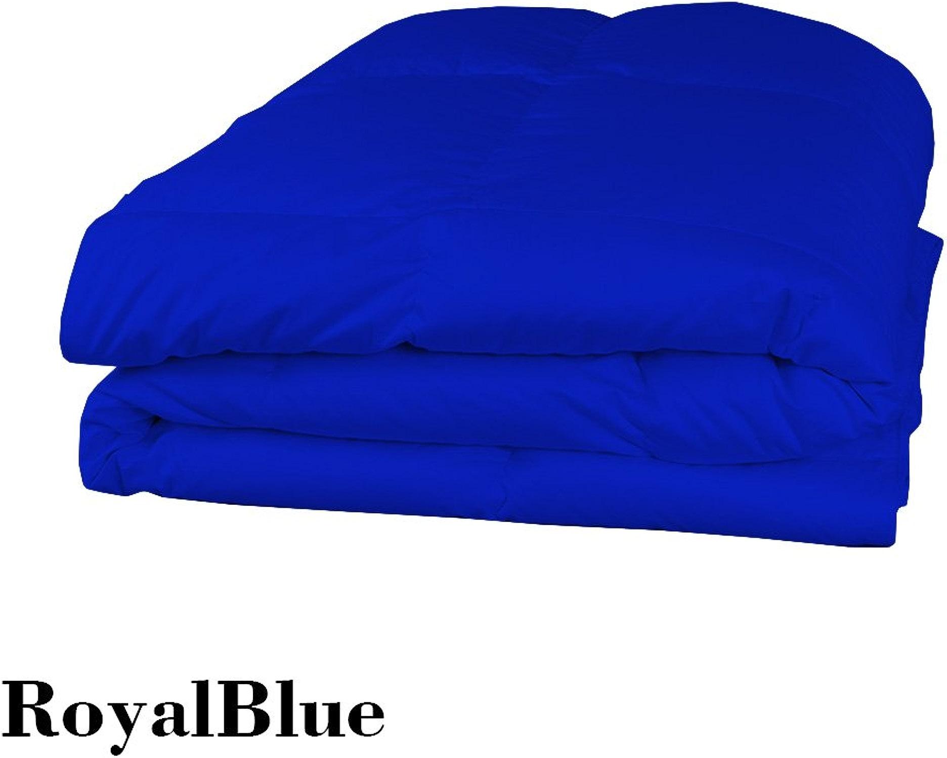 Dreamz Parure de lit Super Doux 250Fils 100% Coton 1Housse de Couette (200g m2 Fibre Fill) Single Long, Bleu Roi Bleu égypcravaten Solide Coton égypcravaten enveloppe Doudou