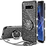 OCYCLONE Galaxy S10 Hülle, Glitzer Diamant Handyhülle mit Trageband und Handy Ring Ständer Schutzhülle für Galaxy S10 Handy Hülle für Mädchen Frauen, [6.1 Zoll] Schwarz