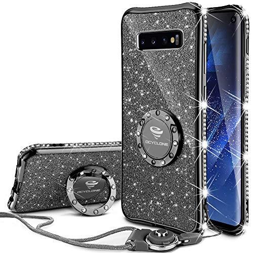 OCYCLONE Galaxy S10 Hülle, Glitzer Diamant Handyhülle mit Trageband und Handy Ring Ständer Schutzhülle für Galaxy S10 Handy Hülle für Mädchen Frauen, [6.1 Zoll] Schwarz Lila