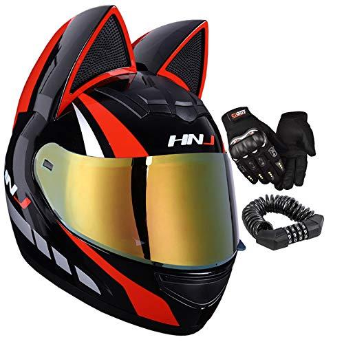 Casco de moto con orejas de gato, casco de motocicleta para hombre y mujer, casco de motocicleta con visera dorada, color negro y rojo, XL