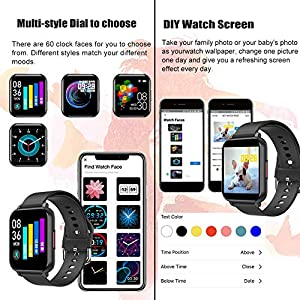 feifuns Smart Watch iPhone Compatible, Waterproof Fitness Tracker Watch with Heart Rate Monitor Sleep Tracker, Step Counter, Pedometer Watch for Android iOS Phone for Men Women