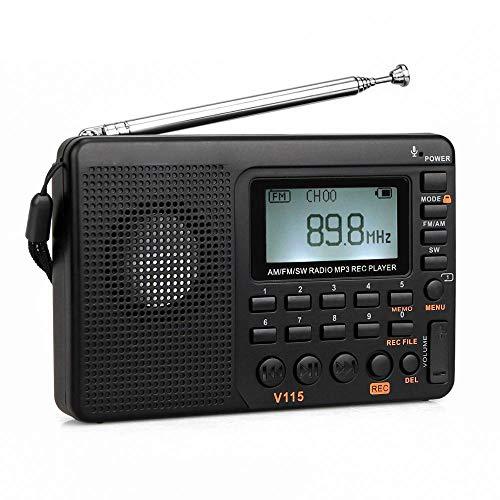 Tragbares Digitales Radio, Radio AM FM SW Pocket Radio Wecker Externe Receiver Shortwave FM Speaker Transistor Receiver TF Card USB Rec Recorder Sleep Time